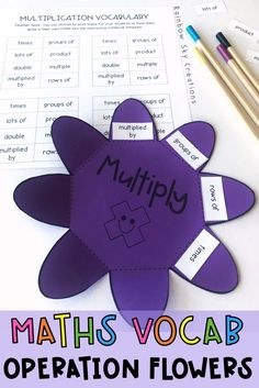 Maths Operations Vocabulary Flowers - A perfect lesson for when students are learning about math word problems, as it will assist students to become better at identifying and understanding what words mean and which operation it is referring to. Student can keep these vocabulary flowers in their books to use as a reference throughout the year. Addition, Subtraction, Multiplication, Division Vocab. #rainbowskycreations