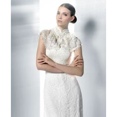 Straight Neck Allover Lace Wedding Dress with Wrap - Belles Bridals
