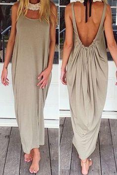 Solid Color Backless Maxi Sundress KHAKI: Maxi Dresses | ZAFUL