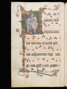 Vultum tuum - introit for virgins, not martyrs. Beautiful Ave Maria in the illuminated V. Aarau, Aargauer Kantonsbibliothek, MsWettFm 3, f. 23v – Graduale oesa, Proprium de sanctis