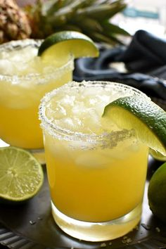 These Pineapple Margaritas are a deliciously sweet, refreshing twist on the original! Made with just 4 simple ingredientsand perfect for happy hour, weekends,