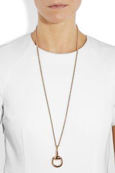 Gucci|18-karat rose gold horsebit necklace |