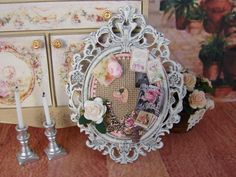 Dollhouse Miniature Shabby Chic Baroque Frame by IttyBittyAndCute, $39.95
