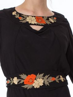 1930s Black Pleated Bell Sleeve Belted Dress with Embroidered Neckline