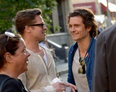 Brad Pitt met up with Orlando Bloom on Thursday at an industry event in LA. How does Brad Pitt do it? 50 and still gorgeous.