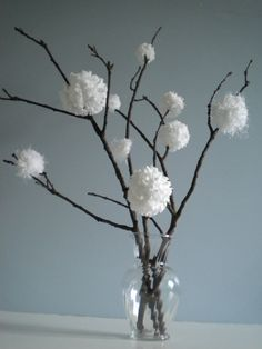 Pom Pom Snowballs on branches