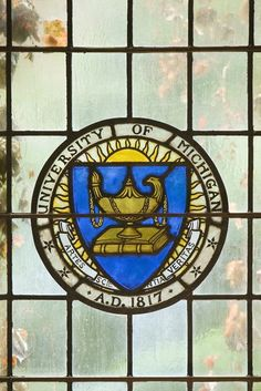 Stained glass seal at the University of Michigan in Ann Arbor, Michigan