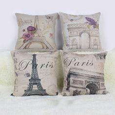 Retro PARIS Cotton Linen Home Pillow Case Throw Cover Free Shipping