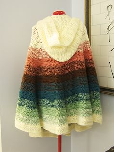 Chalet's Hooded Cape ~ an ombre stripe cape.  Beautiful!
