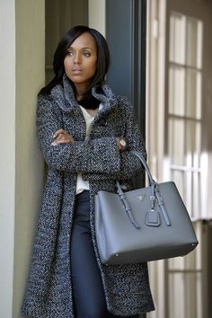 """Armani Collezioni"" Fall 2013 Grey multi color tweed single breasted jacket with three oversized black buttons - worn by Olivia Pope (Kerry Washington) on Scandal, season 4, episode 3."