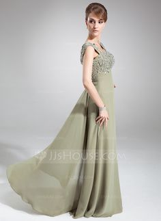 c5a61f08f3ba Empire Square Neckline Floor-Length Chiffon Mother of the Bride Dress With  Beading Sequins (