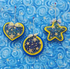Felt Star ornaments-handmade felt and by DebsArtsyEnchantment
