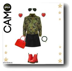 """""""Cute Camo"""" by steviesbug ❤ liked on Polyvore featuring Monki, WearAll, Dr. Martens, Chanel, Sydney Evan, Ray-Ban and Jennifer Meyer Jewelry"""