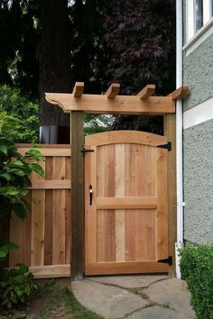 Cedar Gates & Arbours Custom Design in Vancouver - Premium Fence Company of BC - yard gate Backyard Gates, Garden Gates And Fencing, Backyard Privacy, Garden Doors, Pergola Patio, Fence Gates, Dog Fence, Fence Doors, Wood Gates