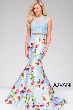 Blue Multi Two Piece Mermaid Dress 49989
