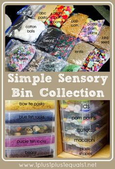 Items to use for sensory play ideas for storing the items and links to how and w. - TODDLER PLAY IDEAS - Items to use for sensory play ideas for storing the items and links to how and w. Sensory Tubs, Sensory Boxes, Toddler Sensory Bins, Sensory Activities Toddlers, Sensory Play For Babies, Baby Sensory Bags, Sensory Activities For Autism, Young Toddler Activities, Fall Sensory Bin