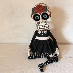 Day of the Dead Sugar Skull Doll Sculpture-- Original Hand Painted Folk Art Skeleton