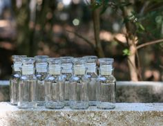 Set of Eight Vintage Glass Spice Jars with Glass Lids / VIntage Spice Jars, Bead Storage / Small Glass Jars by theretrobeehive on Etsy