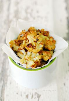 This Ranch Cauliflower Bites recipe is a healthy snack idea. When these roasted cauliflower poppers are dipped in ketchup, they taste like french fries!