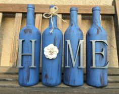 Recycled Wine Bottles Rustic Decor Painted Wine by MyHeartByHand