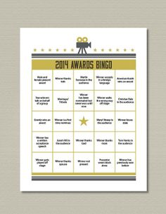 2014 Oscar Bingo Game Printable by getpartychic on Etsy, $7.99