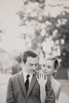 Gorgeous black and white portrait of a bride and groom. image: Ashely dePencier Photography