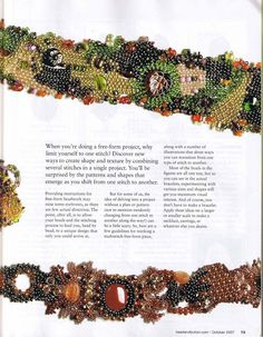 Guide for Free-Form Beadwork using herringbone, peyote, brick, and netting stitches and how to transition from one to the other.  (2 of 4)