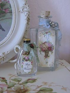 bottles - french inspired - pink roses.