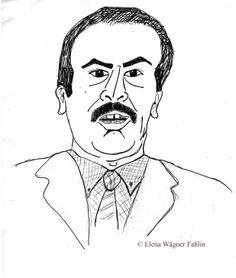 Retrato del profesor Carlos López de Lamela Velasco. Dibujado por Elena Wägner Fahlin en Noviembre de 1993.