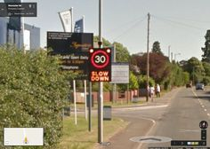 Google Street View car snaps evidence of itself speeding     - CNET  Enlarge Image  The sign asks speeding driver to slow down.                                             Screenshot by Amanda Kooser/CNET                                          Perhaps Google Street View should rename itself to Google Speed View. An image found in Street View in the UK village Kempsey shows a sign flashing with a warning that the approaching vehicle is violating the 30 mph limit. It appears the Google…