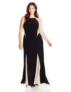 e8615de9 Amazon.com: Xscape Women's Plus-Size Gown with Illusion Insets: Clothing