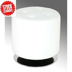 Julie Large White Finish Round Stool In Faux Leather