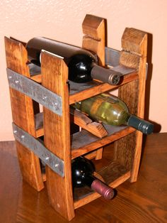 Wine barrel stave table top wine rack by Living Oak Designs