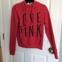 Red Love Pink Hoodie Cute and comfy! Don't agree with the price? Go ahead and make me a reasonable offer and I'll happily lower it for ya :) PINK Victoria's Secret Sweaters