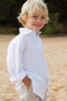 Boy's Linen Amalfi Shirt and khaki pants very nice for the beach causal outdoor wedding