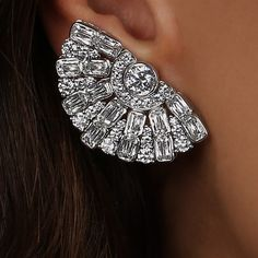 William Goldberg Diamonds. ASHOKA Diamond Fan Deco Earrings.