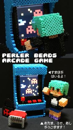 3D Arcade game machine - Perler bead project by nun