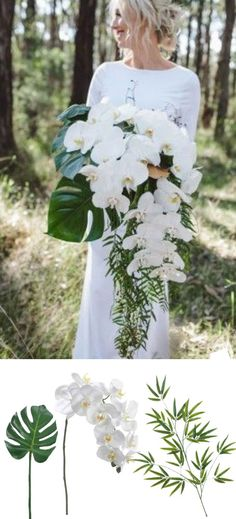Modern Tropical Orchid Bouquet Recreate this bouquet with faux orchids and tropical greenery from afloral.com #diywedding