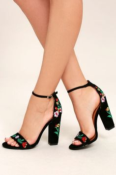 0ea0625cc5e Be unstoppable in the Suri Black Embroidered Ankle Strap Heels! These  stunning heels have a