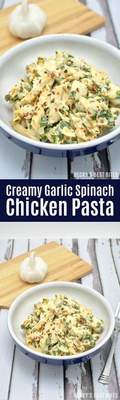 Skip the long waits at restaurants this weekend and make Creamy Garlic Spinach Chicken Pasta meal for your Valentine! This easy, healthy dinner recipe will melt their heart!! | http://beckysbestbites.com