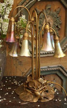 Iconic Antique Original Tulip Tiffany Lamp Breathtaking