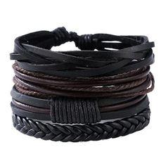 Leather Bracelet Set Black Leather Bracelet b02e76cf1dce2