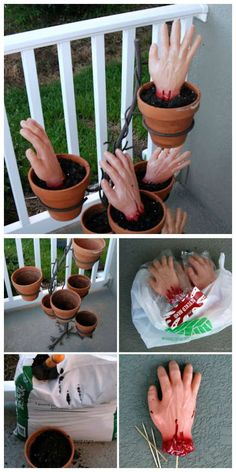 22 DIY Halloween decorations ideas for outdoors - Decorate your hallway with hands planted for Halloween. 22 ideas of DIY Halloween decorations for t - Halloween Veranda, Soirée Halloween, Harry Potter Halloween, Outdoor Halloween, Halloween Birthday, Halloween Party Decor, Décoration D'halloween Diy, Diy Halloween Dekoration, Holidays