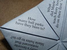 cootie catcher with fun questions...about you two *or* for your guests to ask each other...