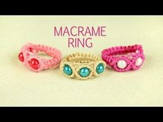 M Macrame Ring with Beads - Tutorial - YouTube
