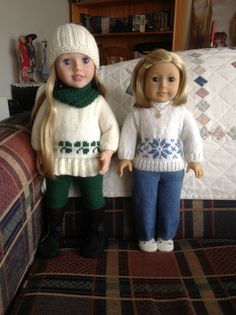 A little of my knitting for my Australian Girl and my American girl dolls. The Shamrock outfit is a Jacknitss design. The Snowflake design is mine.