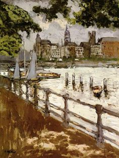 Édouard Vuillard - View of the Binnenalster in Hamburg, 1913. Gouache on cardboard, 74 x 55 cm. Kunsthalle, Hamburg, German
