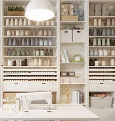Scandinavia Meets Japan In These Minimalist Work Spaces Sewing Room Design, Sewing Room Decor, Sewing Studio, Sewing Rooms, Sewing Spaces, Studio Interior, Interior Design, Interior Livingroom, Design Studio Office