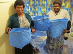 These lovely ladies from from the island of EPI in Vanuatu.   They were in New Zealand during the fruit picking season, under an agreement between our two countries.   They have woven these wonderful baskets out of industrial waste and created useful items.   We are selling these baskets at our regular market days in NELSON New Zealand.   ALL the proceeds are returned to the original weavers.   Come and see our site at the Nelson Market each Saturday - LAV KOKONAS, under the bright pink…