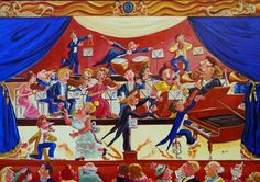 La Diva et le Grand Orchestre - Huile sur toile - 65 x 92 cm. Claude, Fair Grounds, Orchestra, Oil On Canvas, Board